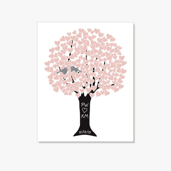 Bridal Shower Wedding Gift Anniversary Present Love Tree in Pink Silver Black - Personalized Custom Monogram Initials Bespoke