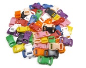 """50 Safety Breakaway Pull-Apart Buckles, 3/8"""" (10mm) Ten Colors to Choose From. Contoured, Side-Release, Plastic. Perfect for Cat Collars."""
