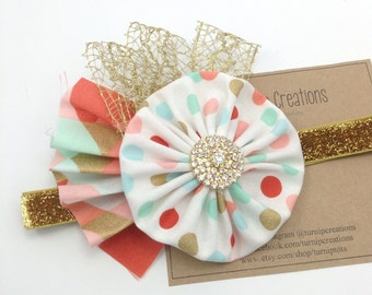 Coral, Mint & Gold Headband M2M OTT Couture Metallic Headband YoYo Headband Fabric Headband Newborn Photo Prop Girls Headband
