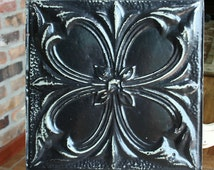 """Genuine Antique Ceiling Tile -- 12"""" x 12"""" -- Distressed Black Paint -- Large Abstract Flower Design"""
