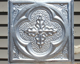 """Antique Ceiling Tile -- 12"""" x 12"""" -- Distressed Silver Paint - Deeply Embossed with a Pretty Design"""