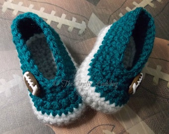 Sports team booties - sports baby booties - crochet baby booties - team sports - striped baby booties - made to order