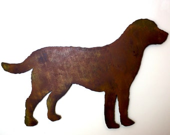"Labrador Retriever metal wall art - 15"" wide - dog silhouette painted rusted steel - wall hanging - Choose your patina color"