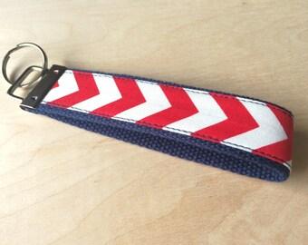Fabric wristlet keychain, key fob - Red Chevron