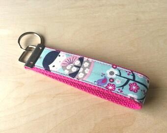 Fabric wristlet keychain, key fob - Kokeshi Japanese Doll