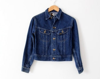 FREE SHIP  vintage 70s Lee denim jacket, small American jean jacket