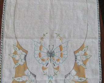 Vintage Gold and Blue Embroidered Flowers and Butterflies Table Runner - Dresser Scarf - Needlework - Kitchen - Bedroom - Linens - Vanity