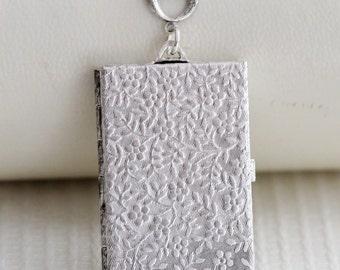 Locket Necklace,Book Locket,Cherry Blossom,Jewelry,Pendant, Floral Silver Locket,Antique Style,Flower Locket,Wedding Necklace,bridesmaid