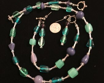 Green, Blue, and Purple 3 Piece Jewelry Set