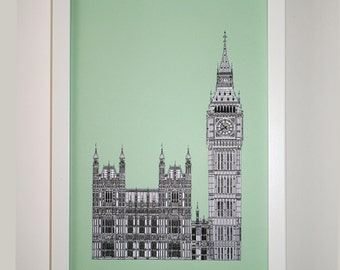 Mint Green London Print, London Illustration, Architectural Art, London Art, Big Ben art print, England, Travel, Picture of London