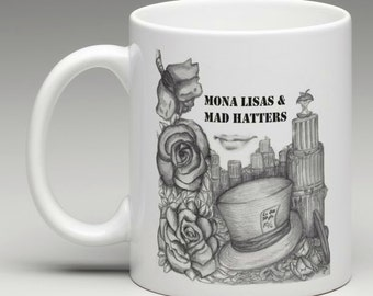 Alice in Wonderland Mona Lisas & Mad Hatters Mug (Elton John, Tim Burton Inspired, Proceeds Donated To Alzheimer's Association)