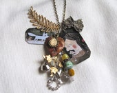 The Wolf  Necklace with Manon Gauthier Illustration -  Mini Vintage Treasures and Found objects - Recycled  Upcycled Pieces