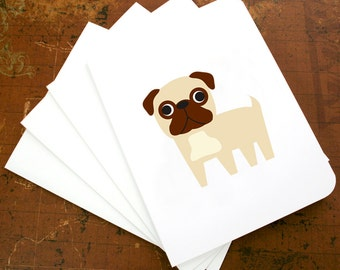 Pug cards, pug note cards, pug blank cards, pug greeting cards. (Set of 6)