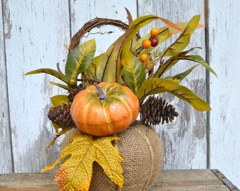 Fall Pumpkin Centerpiece Arrangement Gourds Harvest Autumn Thanksgiving Halloween Decor