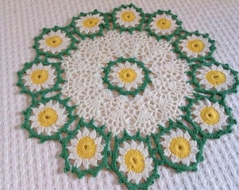 Vintage Cotton Crocheted Doilies, set of 2 green, yellow, white 50's