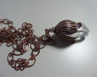 Copper and Quartz Crystal Necklace