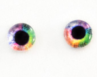 6mm Rainbow Glass Eyes Cabochons - Tiny Glass Eyes for Doll or Jewelry Making - Set of 2