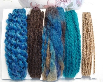 Specialty yarn art fiber embellishment bundle, Earth colors