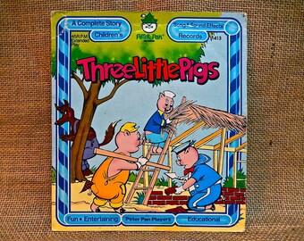 Peter Pan Records - THREE LITTLE PIGS - Vintage Vinyl 45 rpm Record Album