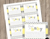 Yellow and Gray book request insert card, baby shower book request, baby shower, Hearts theme Bring a Book Insert,  INSTANT  HYG01