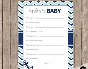 Nautical wishes for baby, blue and navy wishes for baby, wishes for baby, chevron nautical wishes for baby, nbn1  INSTANT DOWNLOAD