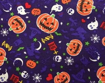 Halloween trick or treat fabric purple color one yard