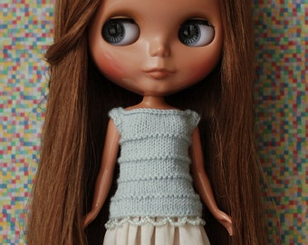 Short summer dress for Blythe - knitted top with skirt, bead embellished