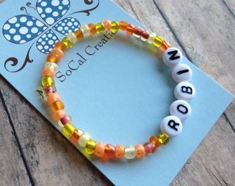 Personalized Beaded Name Bracelet-Czech Glass Bead-White Letter Beads-Any Name-Any Word-Any Phrase-Tropical Garden Mix