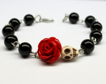 Original Day of the Dead Black Agate Red Rose Frida Flower Bracelet Sugar Skull Jewelry