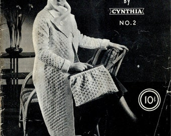 Rare Late 30's Yarncraft  Booklet No. 2 by Cynthia : Knitting and Crochet Patterns Fashionable Knit and Crochet Garments