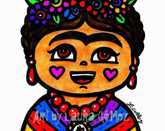 Fridita- Print of Original Art by Laura Gomez -Archival Matte Paper -Frida Kahlo Prints- Frida Kahlo Art - Frida Kahlo Mexican Art
