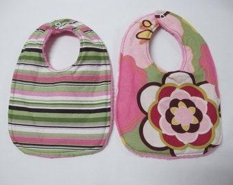 Baby Girl Infant 2 bib Gift Set - pink and green