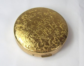 Vintage Studio Girl Powder Compact Embossed Feather Plume Floral Design Gold Tone Made In USA