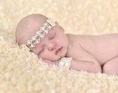 Newborn Pearl Headband  SET with Wristlets - Choose ANY COLOR white, creme, mint, pink, mauve, colors - Pearl baby headband - Abigail style
