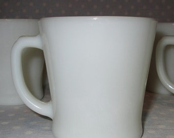 SET of 8 Anchor Hocking White Coffee Mugs Cups Vintage