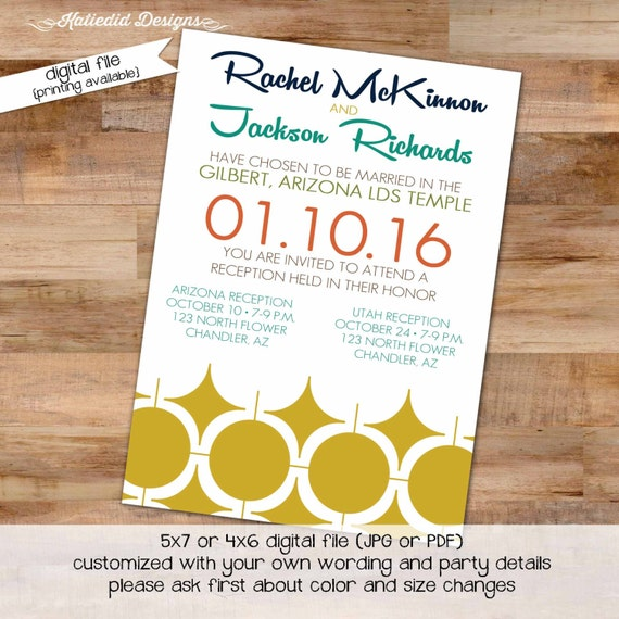 Couples Bridal 1950s theme Invitation Rehearsal Dinner Retirement Party housewarming mid century modern gay shower LGBT 328 Katiedid Designs