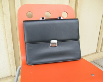 Vintage Black Attache - Black Laptop Bag