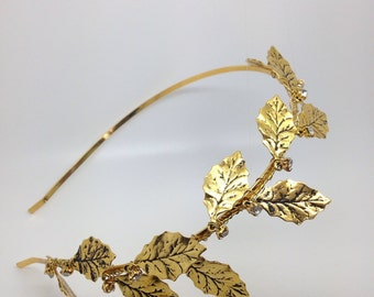 Golden headpiece for a boho bride, headband in gold with leaves and diamonites, woodland wedding