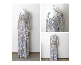 70s Muslin Bohemian Dress - Floral Dress - Maxi Dress - Semi Sheer - Long Sleeve - Boho Chic - Hippy Hippie Chic  - Full Length Floor Length