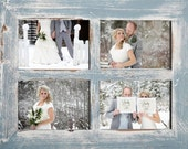 """2"""" 4 hole 8x10 Barn Window Collage Picture Frame - Sky & White - Distressed Frame-Collage Frame-Picture Frames"""