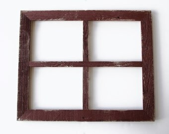 """2"""" 4 hole 8x10 Barn Window Collage Picture Frame Barn Red-Rustic Wedding-Distressed Frame-Cottage Chic-Collage Frame-Picture Frames"""