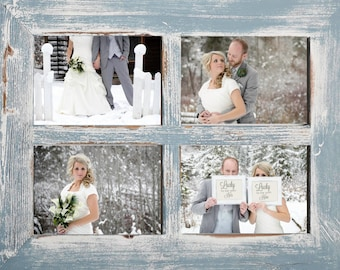 "2"" 4 hole 8x10 Barn Window Collage Picture Frame - Sky & White - Distressed Frame-Collage Frame-Picture Frames"