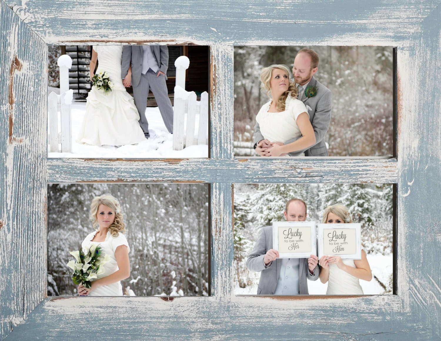 2 4 hole 8x10 Barn Window Collage Picture Frame Sky