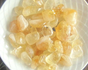 Citrine gemstones tumbled set of 3 - witchcraft supplies wicca wiccan crystals pagan magick metaphysics altar tools