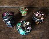 Vintage Chinese Japanese enamel pillboxes pumpkin cherry blossom flower motive circa 1930-50's / English Shop