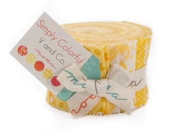 Simply Colorful Junior Jelly Roll in Yellow designed by Vanessa Christensen of V and Co.