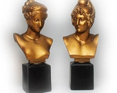 Neoclassical Decorative Bronze Painted Bust Figurines of Apollo and Diana