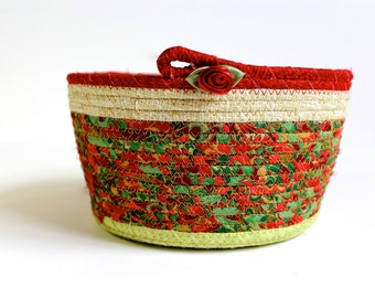 Holiday Coiled Rope Basket in Christmas Red, Green and Gold  Card Basket