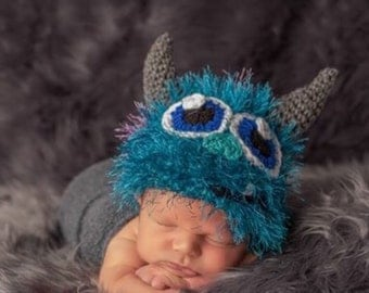 Monster sully hat, Crochet newborn monster hat, blue fuzzy monster hat, newborn props, baby props, monster costumes