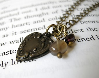 Mathilde Necklace Donation Item - Brass Garnet Ornate Heart Agate / Dainty Dark Victorian Small Charm, Autumn Jewelry, 100% Proceeds Donated